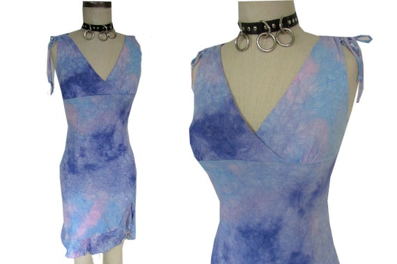 Pastel Tie Dye Space Stretchy 90's Ruffled Girly Party Dress