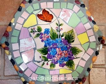 Mosaic stepping stone Mosaic wall plaque Mosaic wall decor-fb