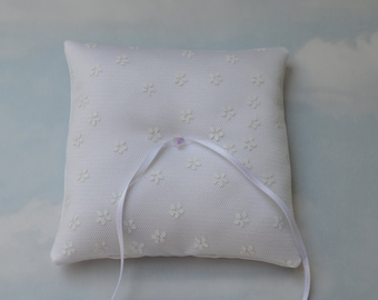 White satin ring pillow. Wedding ring cushion.