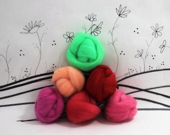 Wooly Buns roving, fiber sampler, assortment, needle felting supplies in Watermelon, 1.5 oz hand dyed roving collection, watermelon, green