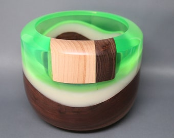 Handcrafted Turned & Carved Wooden Bowl made of Black Walnut, Maple Wood Carved Amber Resin Inlay and Clear Green Resin Top  Collectible Art
