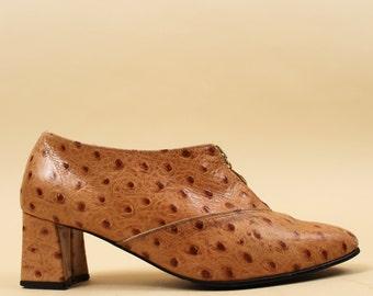 80s 90s Vtg Ostrich LEATHER Textured Sienna ZIPPER Oxford Bootie / Avant Garde Platform Chunky High Heel /
