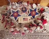 Primitive Country Raggedy Tattered Patriotic Americana Rag Swag GARLAND with STARS Skirting Wrap Drape (RWB-01)