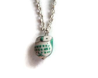 Emerald Green Ceramic Owl Necklace