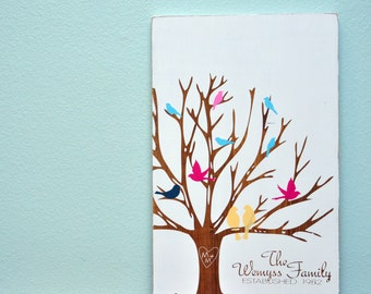 Wood Sign 12x18 Carved Family Tree with birds personalized