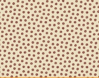 SAMPLER- CIVIL WAR, red star flower with dots  on cream shirting cotton print by the half yard  Windham Cotton Fabric 41309-2