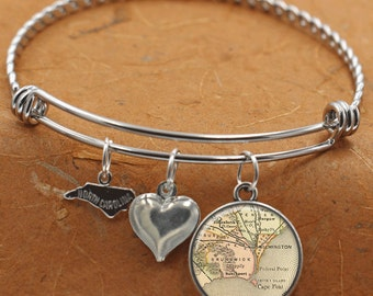 Wilmington Cape Fear North Carolina Map NC State Charm Bangle Bracelet Personalized Custom Vintage Map Jewelry Stainless Steel Bracelet