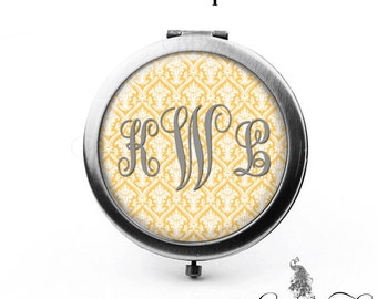 Damask Monogram Compact Mirror Personalized Bridesmaid Gifts Pocket Mirror Cosmetic Mirror Gifts for Her Purse Mirror Yellow Gray
