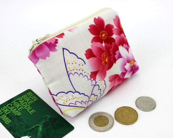 Butterfly Coin Pouch, Gift For Mom, Credit Card Holder,Business Card Cases,Cherry Blossoms White