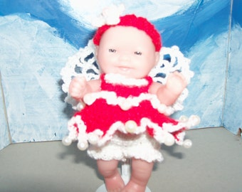 5 Inch Berenguer Doll in Crocheted Christmas Angel Outfit