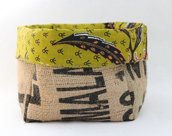 Upcycled Coffee Sack and African Wax Print Slouch Storage Basket Large