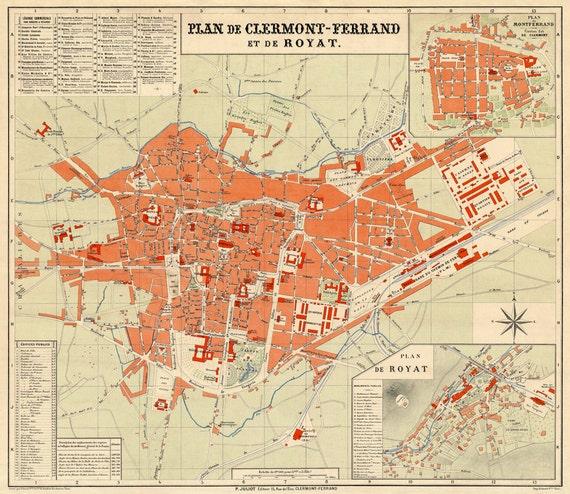 clermont ferrand map vieille carte de la ville de clermont. Black Bedroom Furniture Sets. Home Design Ideas