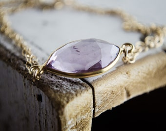 Pale Amethyst Quartz Bracelet in Gold | Marquis Cut Bezel Purple Gemstone Bracelet