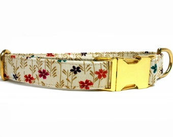 Dog Collar, TINY FLOWERS in CREAM, Handmade
