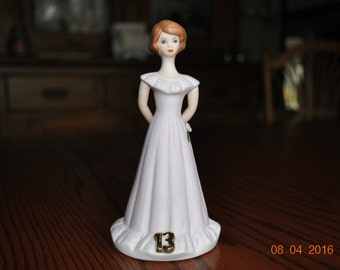 Vintage Growing Up Birthday Girl  In Pale Pink Dress and Brown Hair Age 13 By Enesco
