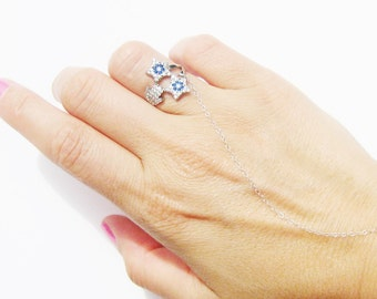 Evil Eye Ring - Slave Bracelet - Evil Eye Cubic Zirconia - Sterling Silver - Evil Eye Ring - Star, Hamsa Hand - Body Jewelry // Aylin