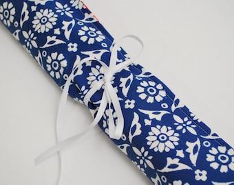 Knitting Needle Organizer - Knitting Needle Roll in Blue Floral Red Nautical, Knitting case, Knitting needle case