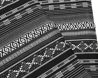 Thai Woven Fabric Tribal Fabric Native Fabric by the yard Ethnic fabric Aztec fabric Craft Supplies Woven Textile 1/2 yard Black White(FF11)