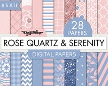 Rose Quartz and Serenity Scrapbook Digital Papers, 8.5 x 11 size, commercial use included, Ombre, Florals, geometrics, glitter, etc