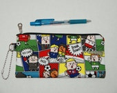 "Padded Zipper Pouch / Pencil Case / Cosmetic Bag Made with Cotton Oxford Fabric ""Soccer Comic"""