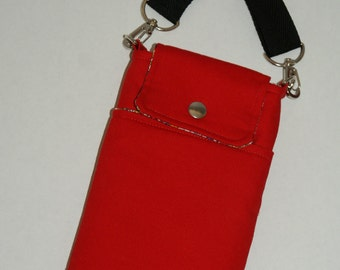 """2 Way Cell Phone Cross Body Bag / Hook Bag with 2 Exterior Pockets Made with Japanese Cotton Oxford Fabric """"Solid Red"""