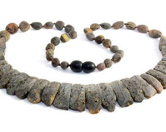 Natural Raw Baltic Amber Necklace and Bracelet