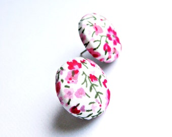 Fabric covered button earrings with a floral pattern in pink, white and green