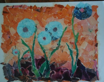 Blue circle flowers - original collage