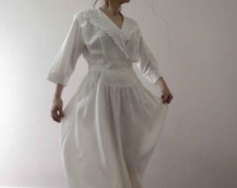 80s Edwardian Style White Shirt Dress Circle Skirt Lace Collar Medium