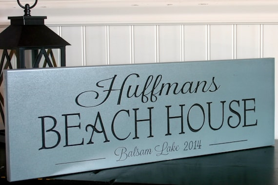 Family Name Lake House Beach House Sign Carved Wood Last Name Sign