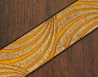 1 yard-Yellow Jacquard Ribbon-Sari Fabric Trim-Table Runner-Art Quilt fabric trim-Designer Silk Saree Border Trim-Brocade Fabric Trim