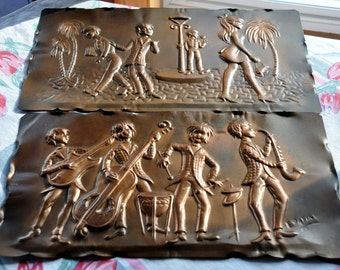 Vintage Coppertone wall hangings - Made in Italy - 1960's theme - Jazz Musicians - Girl Watching