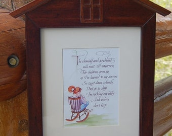 Baby Cleaning and scrubbing can wait 'til tomorrow  Poem Vintage Frame