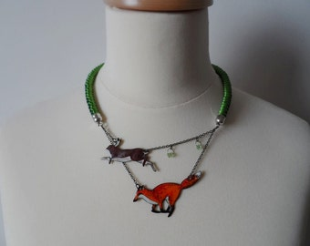 Fox and Rabbit enamel necklace