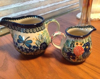 Floral Dragonfly 2 Hand Made In Poland Pitchers M.W. 346 & 189