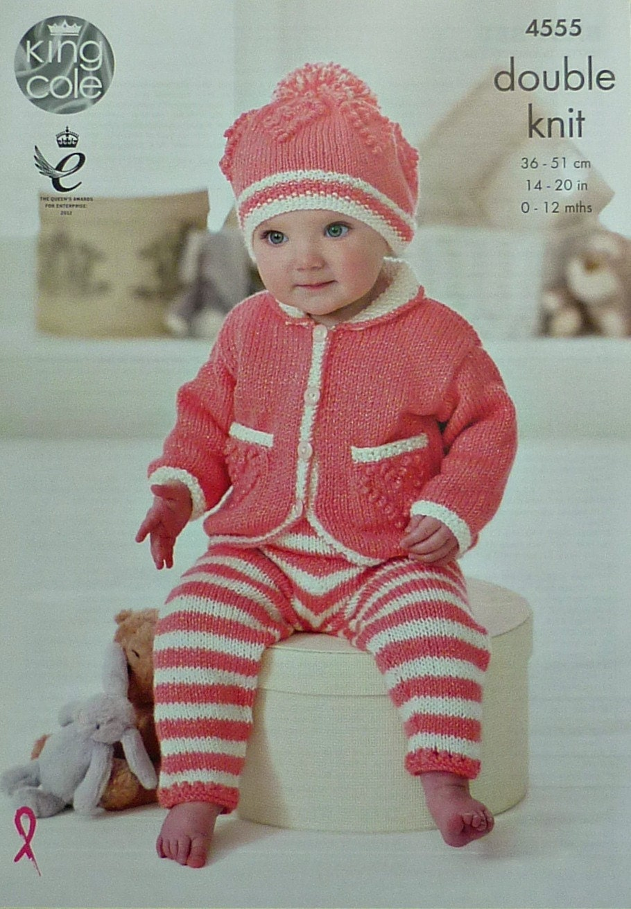 Baby Knitting Pattern K4555 Babies Heart Motif Jacket with Collar Leggings &a...