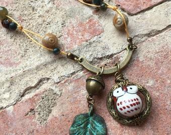Autumn Owl Acorn Leaf Necklace