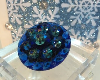 1940's Blue Crystal FlowerBrooch Channel Set Square Stones Flower 1 1/2 Inches