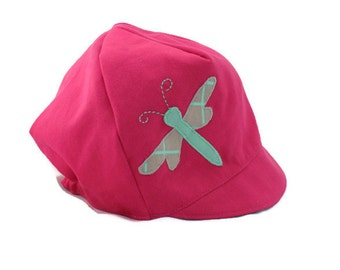 GIRLS Reversible Dragonfly Hat - Organic Cotton Cap - Wee Dee Summer Hat  - Baby Toddler or Child- XXS XS S M L