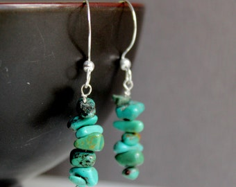Natural Turquoise Chips Sterling Silver Jewelry Earrings - Free U.S Shipping-Birthday -Anniversary