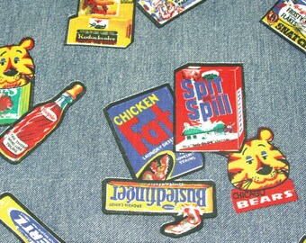 Vintage Fun Blue Denim Cotton Novelty Product Parody Fabric 1 1/3 yard