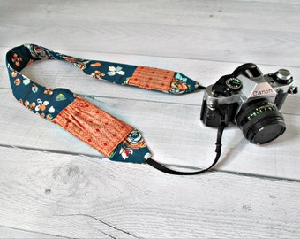 Cross-Body Camera Strap with Pockets | Teal Floral Strap with Peach Lens Cap Pockets | Contoured and Padded