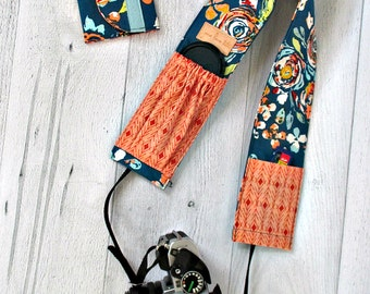 Camera Strap Cover and Memory Card Wallet Gift Set. Teal Floral DSLR Camera Strap Cover with Peach Lens Pockets. Camera Gear. Photography.