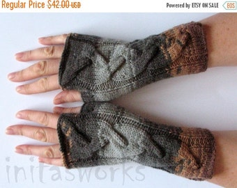 Fingerless Gloves Brown Beige Gray wrist warmers