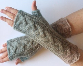 Fingerless Gloves Gray Blue Beige Brown wrist warmers