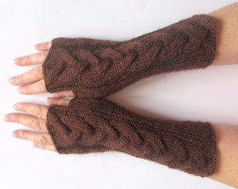 """Brown Fingerless Gloves Arm Warmers Brown 9"""" Mittens Knit Soft Acrylic Mohair"""
