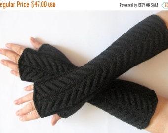 "Fingerless Gloves Mittens black 13"" Arm Warmers, Acrylic"