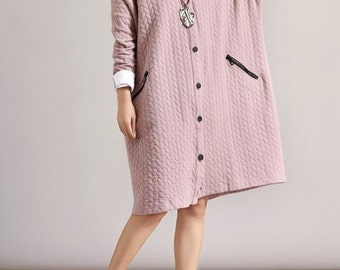 Autumn cotton single breasted bat sleeve cardigan coat women loose fitting cotton coat