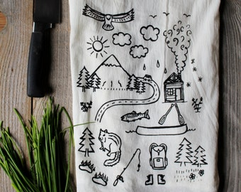 Flour Sack Tea Towel - Mountains - Hand Printed Original illustration
