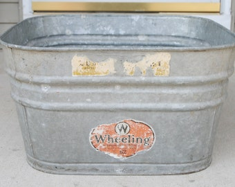 Vintage Wheeling Square Galvanized Tub Wash Basin Outdoor Planter 62